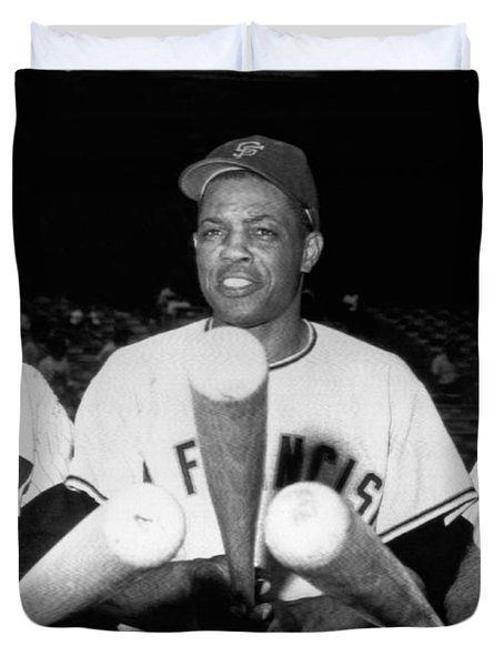Three Slugging Outfielders Duvet Cover by Underwood Archives
