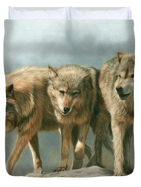 Three Wolves Duvet Cover by David Stribbling
