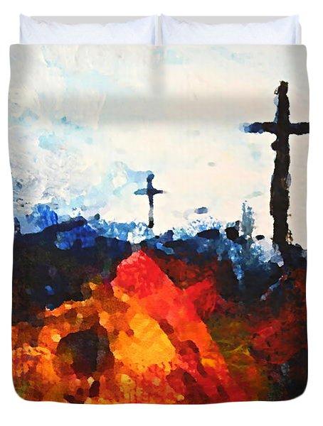 Three Wooden Crosses Duvet Cover by Kume Bryant