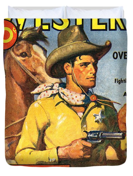 Western Book Cover Art ~ Thrilling western comic book cover photograph by studio art