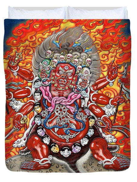 Tibetan Thangka  - Wrathful Deity Hayagriva Duvet Cover by Serge Averbukh