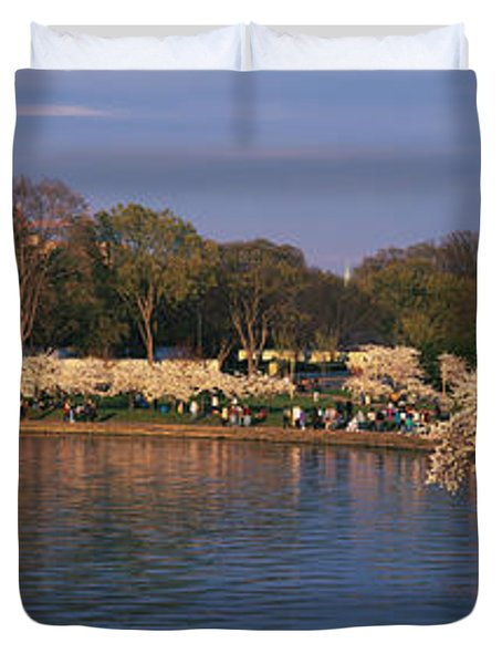 Tidal Basin Washington Dc Duvet Cover by Panoramic Images