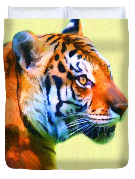 Tiger . 7d2058 . Painterly Duvet Cover by Wingsdomain Art and Photography