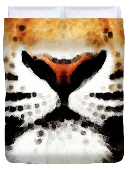 Tiger Art - Burning Bright Duvet Cover by Sharon Cummings