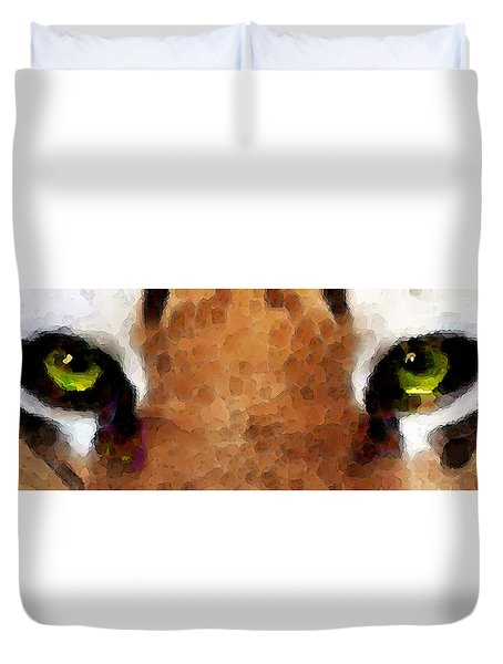 Tiger Art - Hungry Eyes Duvet Cover by Sharon Cummings