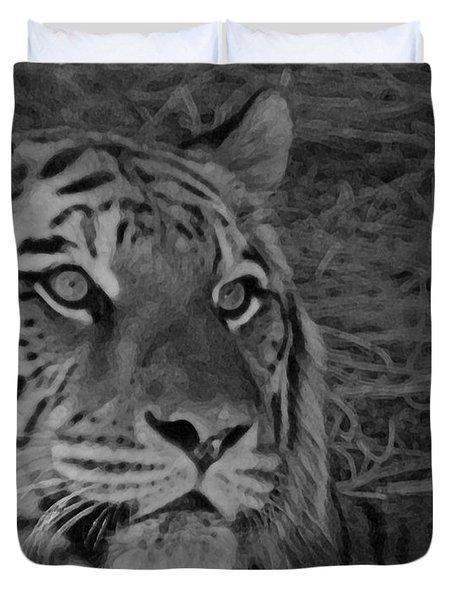 Tiger Bw Duvet Cover by Ernie Echols
