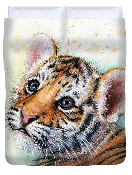 Tiger Cub Watercolor Art Duvet Cover by Olga Shvartsur
