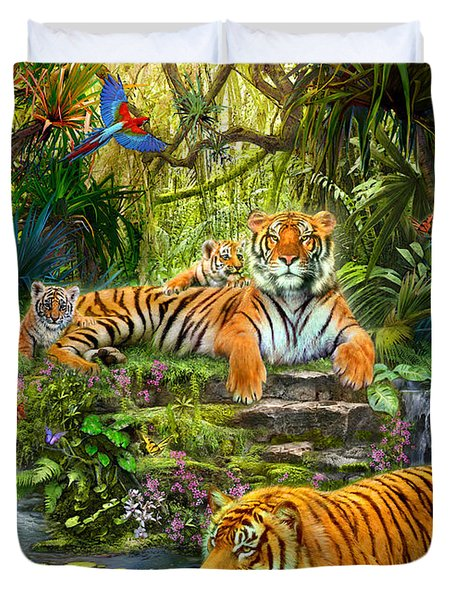 Tiger Family at the Pool Duvet Cover by Jan Patrik Krasny