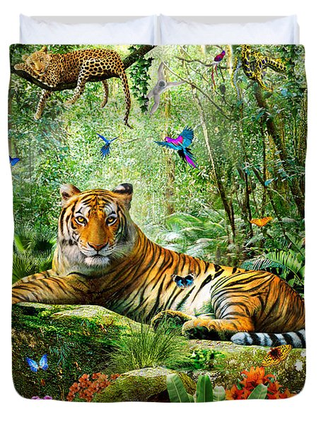 Tiger In The Jungle Duvet Cover by Adrian Chesterman