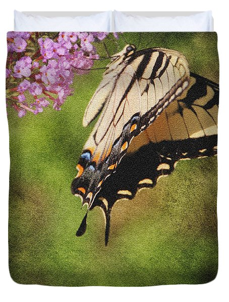Tiger Swallowtail-featured In Photography And Textures And Harmony-happiness Groups Duvet Cover by EricaMaxine  Price