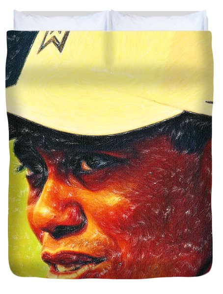 Tiger Woods 2 Crayons Duvet Cover by MotionAge Designs
