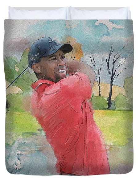 Tiger Woods Duvet Cover by Catf