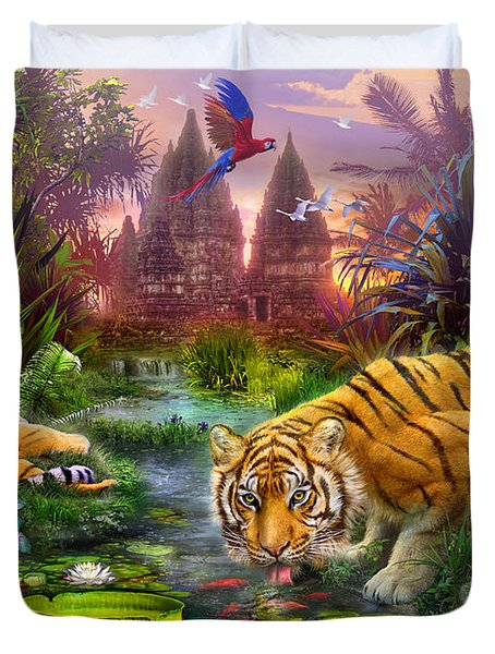 Tigers at the Ancient Stream Duvet Cover by Jan Patrik Krasny