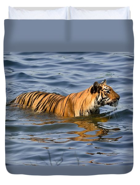 Tigress Of The Lake Duvet Cover by Fotosas Photography