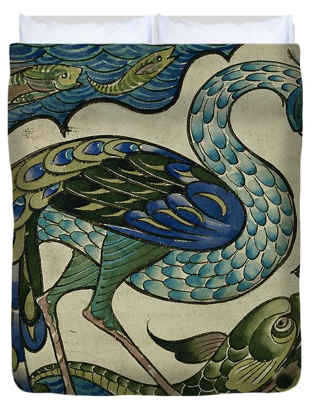 Tile Design Of Heron And Fish Duvet Cover by Walter Crane