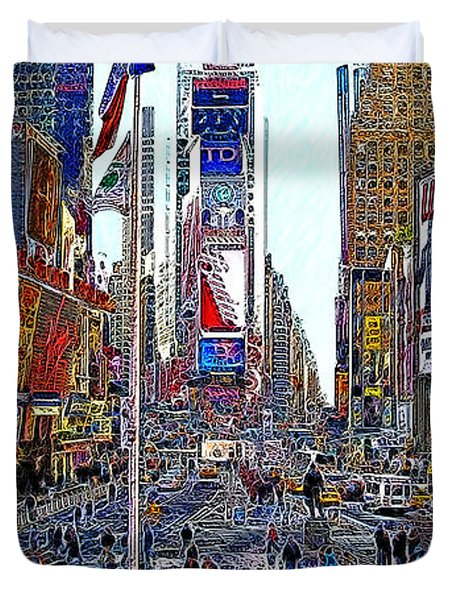 Time Square New York 20130430 Duvet Cover by Wingsdomain Art and Photography