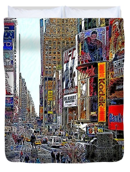 Time Square New York 20130503v4 Duvet Cover by Wingsdomain Art and Photography