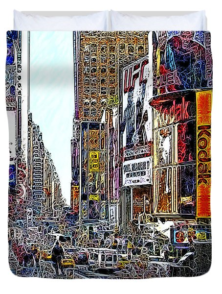 Time Square New York 20130503v7 Duvet Cover by Wingsdomain Art and Photography