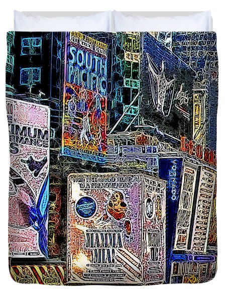 Time Square New York 20130503v9 square Duvet Cover by Wingsdomain Art and Photography