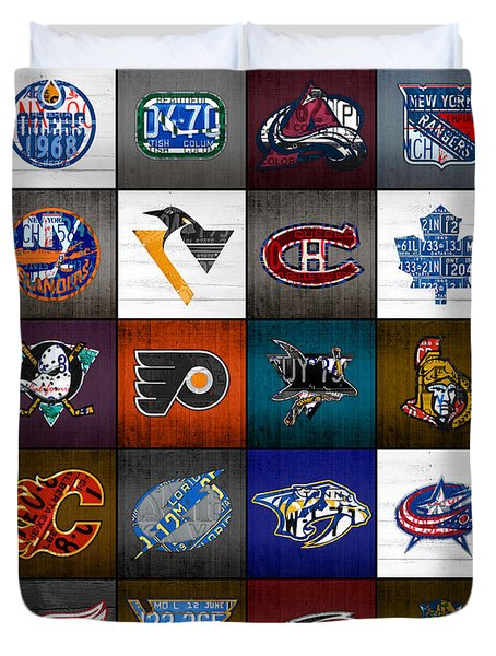 Time To Lace Up The Skates Recycled Vintage Hockey League Team Logos License Plate Art Duvet Cover by Design Turnpike