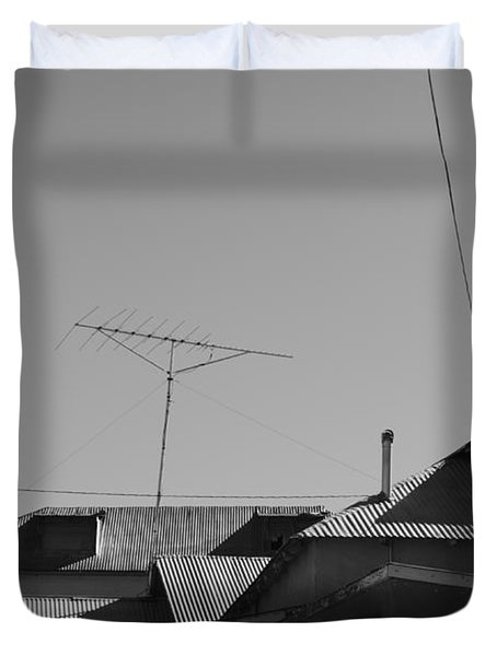 Tin Rooftops Chimayo New Mexico Duvet Cover by David Gordon