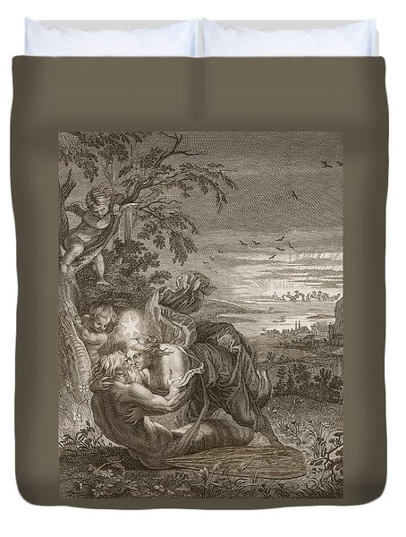 Tithonus, Auroras Husband, Turned Into A Grasshopper Duvet Cover by Bernard Picart