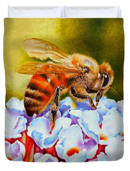 To Bee Or Not To Bee Duvet Cover by Rene Holovsky