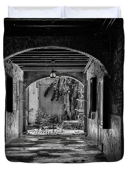 To The Courtyard - Bw Duvet Cover by Christopher Holmes