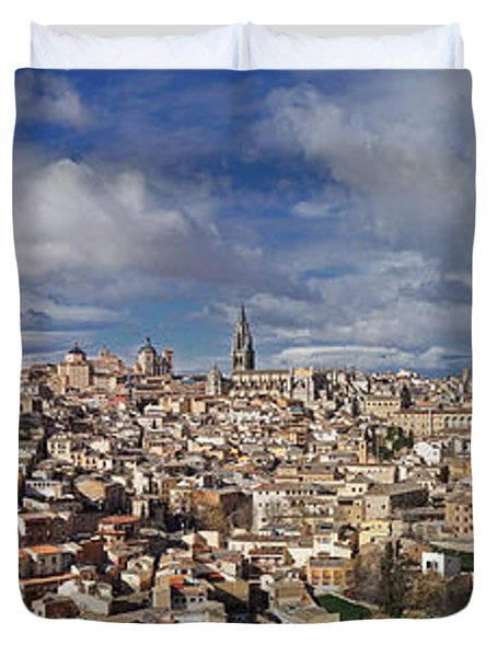 Toledo Old Town Panorama Duvet Cover by Rudi Prott