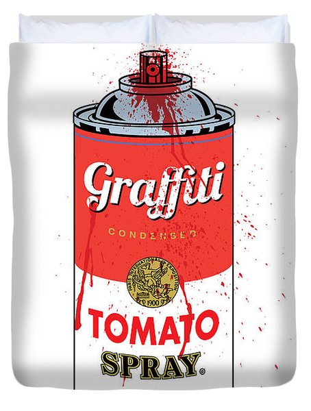 Tomato Spray Can Duvet Cover by Gary Grayson