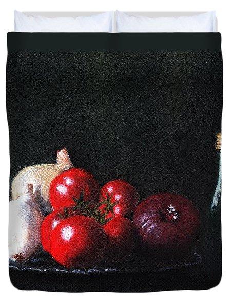 Tomatoes And Onions Duvet Cover by Anastasiya Malakhova