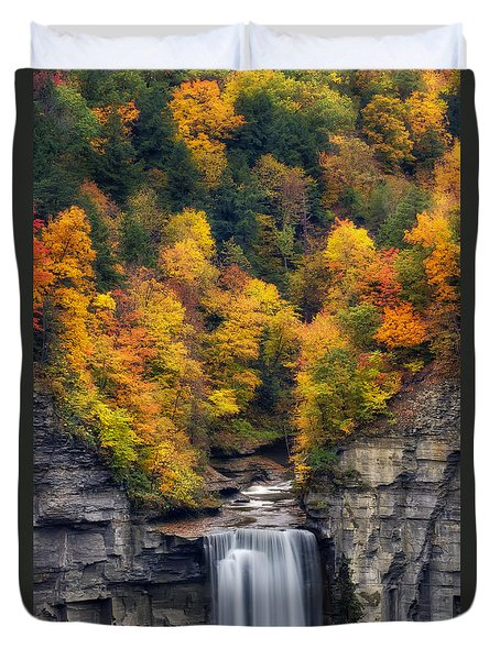 Top Of The Falls Duvet Cover by Mark Papke