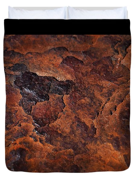 Topography Of Rust Duvet Cover by Rona Black