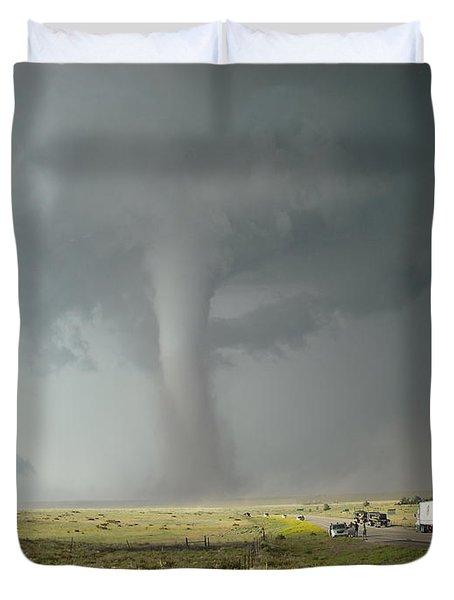 Tornado Truck Stop Duvet Cover by Ed Sweeney