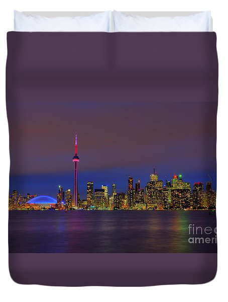 Toronto By Night... Duvet Cover by Nina Stavlund
