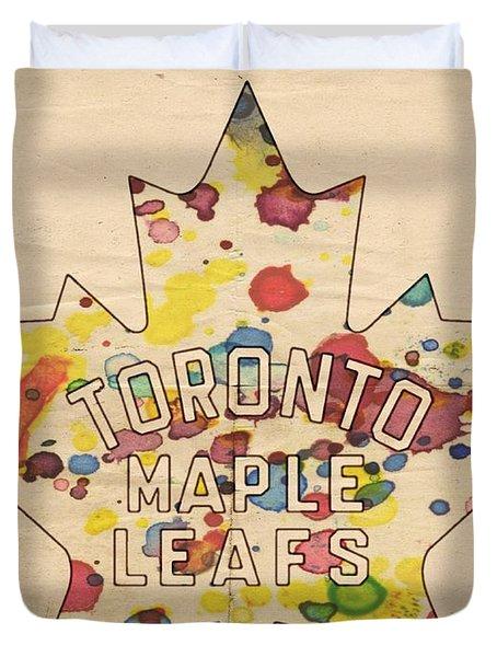 Toronto Maple Leafs Vintage Poster Duvet Cover by Florian Rodarte