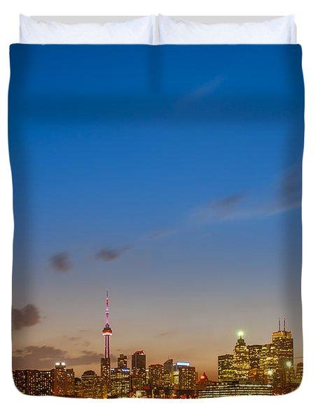 Toronto Skyline Duvet Cover by Sebastian Musial