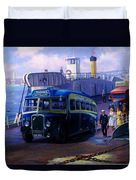 Torpoint Ferry. Duvet Cover by Mike  Jeffries