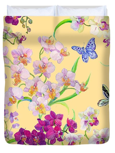 Tossed Orchids Duvet Cover by Kimberly McSparran