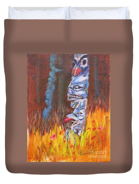 Totems Of Haida Gwaii Duvet Cover by Mohamed Hirji