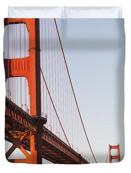 Tour Boats Cross Under Golden Gate Duvet Cover by Harry M. Walker