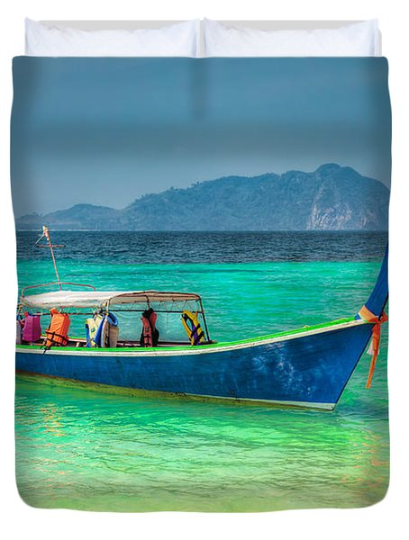 Tourist Longboat Duvet Cover by Adrian Evans