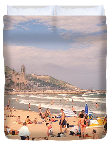 Tourists On The Beach, Sitges, Spain Duvet Cover by Panoramic Images
