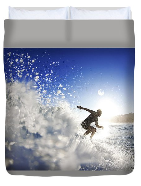 Towards the light Duvet Cover by Sean Davey
