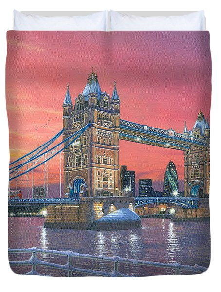 Tower Bridge After The Snow Duvet Cover by Richard Harpum