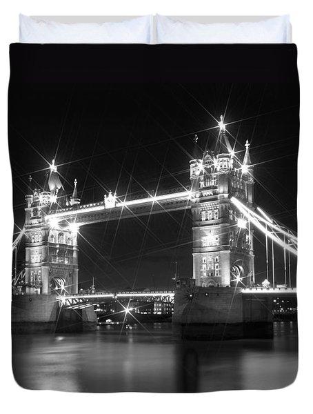 Tower Bridge by Night - black and white Duvet Cover by Melanie Viola