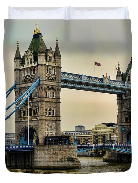 Tower Bridge on the River Thames Duvet Cover by Heather Applegate