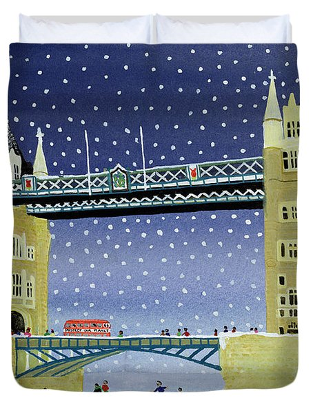 Tower Bridge Skating On Thin Ice Duvet Cover by Judy Joel