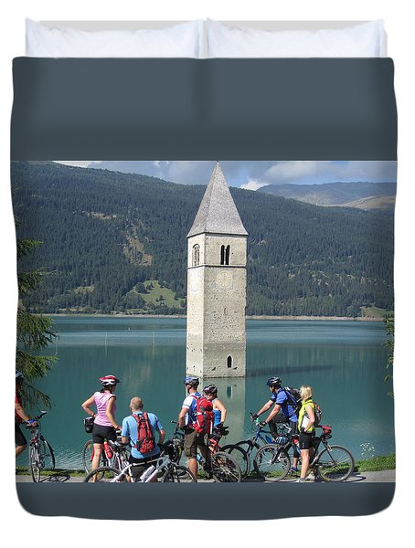 Duvet Cover featuring the photograph Tower In The Lake by Travel Pics