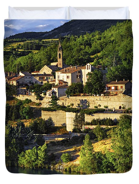 Town of Sisteron in Provence Duvet Cover by Elena Elisseeva